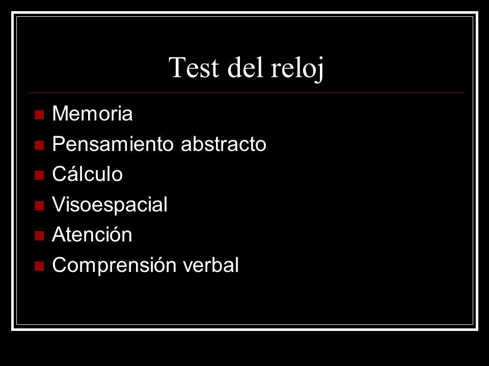 Test del reloj Memoria Pensamiento abstracto Cálculo Visoespacial Atención Comprensión verbal
