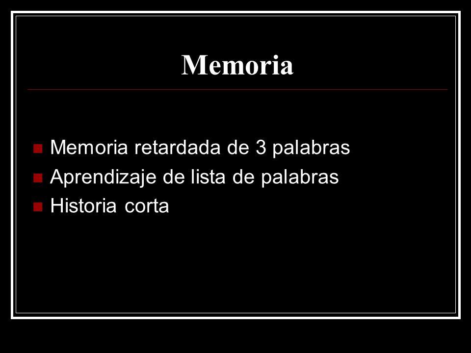Memoria Memoria retardada de 3 palabras Aprendizaje de lista de palabras Historia corta