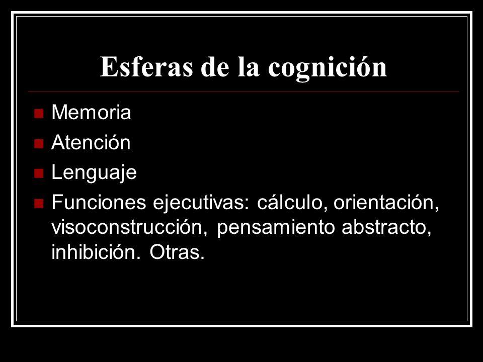 Esferas de la cognición Memoria Atención Lenguaje Funciones ejecutivas: cálculo, orientación, visoconstrucción, pensamiento abstracto, inhibición. Otr