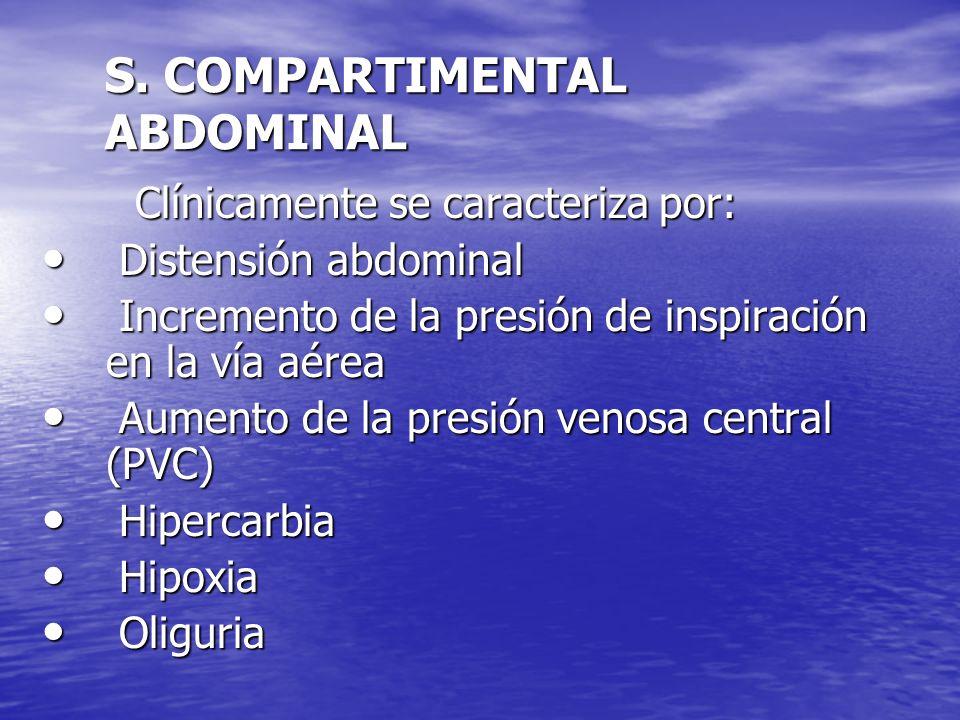 S. COMPARTIMENTAL ABDOMINAL Clínicamente se caracteriza por: Clínicamente se caracteriza por: Distensión abdominal Distensión abdominal Incremento de