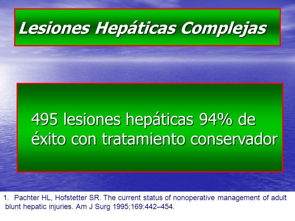 Lesiones Hepáticas Complejas 495 lesiones hepáticas 94% de éxito con tratamiento conservador 1.Pachter HL, Hofstetter SR.