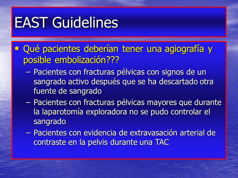 EAST Guidelines Qué pacientes deberían tener una agiografía y posible embolización??.