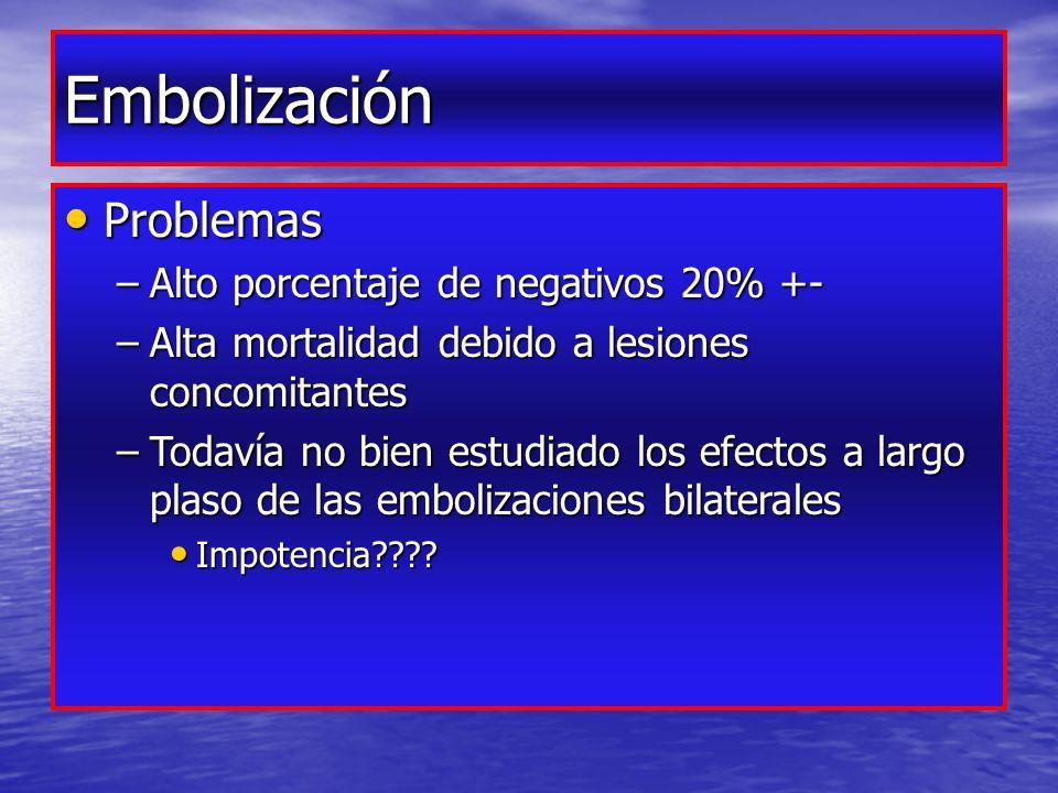 Embolización Problemas Problemas –Alto porcentaje de negativos 20% +- –Alta mortalidad debido a lesiones concomitantes –Todavía no bien estudiado los efectos a largo plaso de las embolizaciones bilaterales Impotencia???.