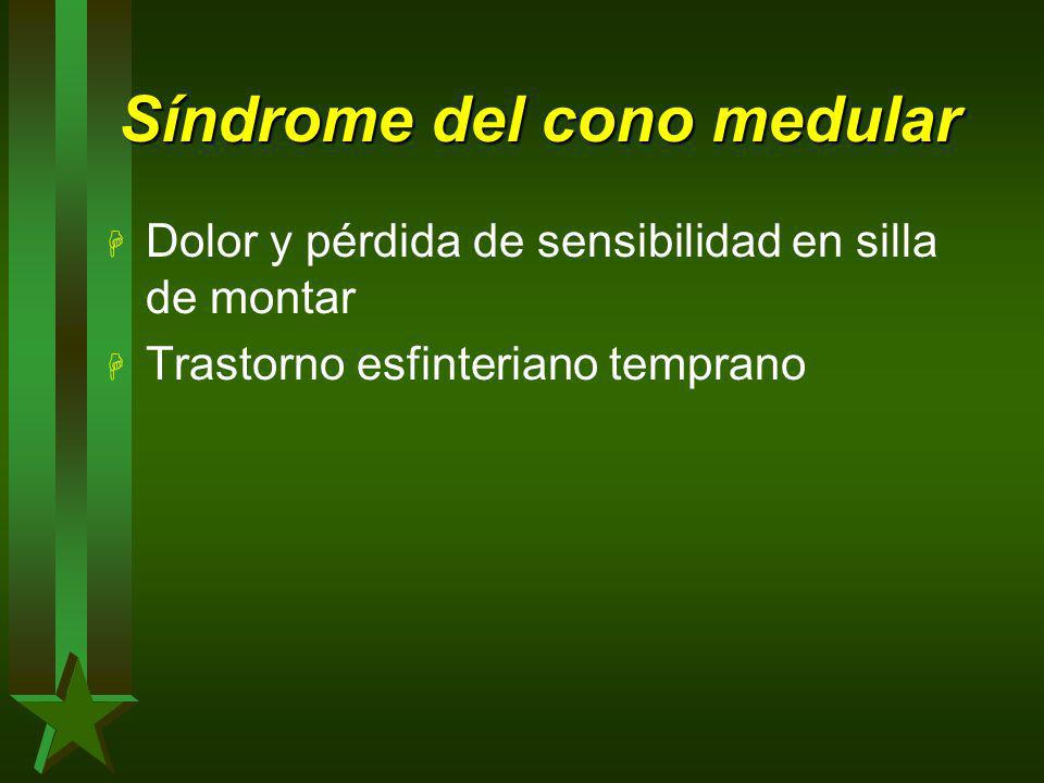 Síndrome del cono medular H Dolor y pérdida de sensibilidad en silla de montar H Trastorno esfinteriano temprano