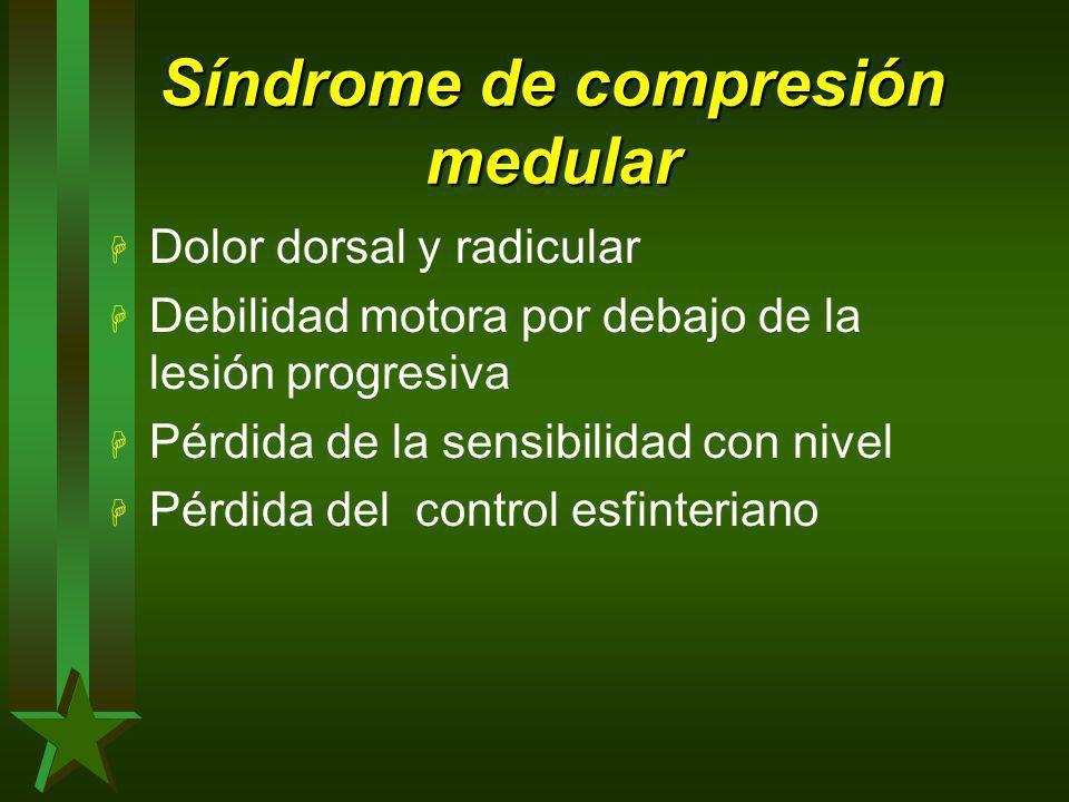 H Dolor dorsal y radicular H Debilidad motora por debajo de la lesión progresiva H Pérdida de la sensibilidad con nivel H Pérdida del control esfinter