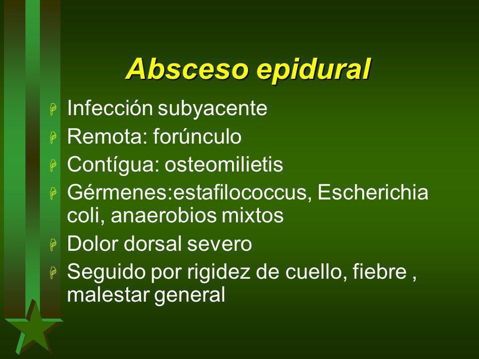 Absceso epidural H Infección subyacente H Remota: forúnculo H Contígua: osteomilietis H Gérmenes:estafilococcus, Escherichia coli, anaerobios mixtos H