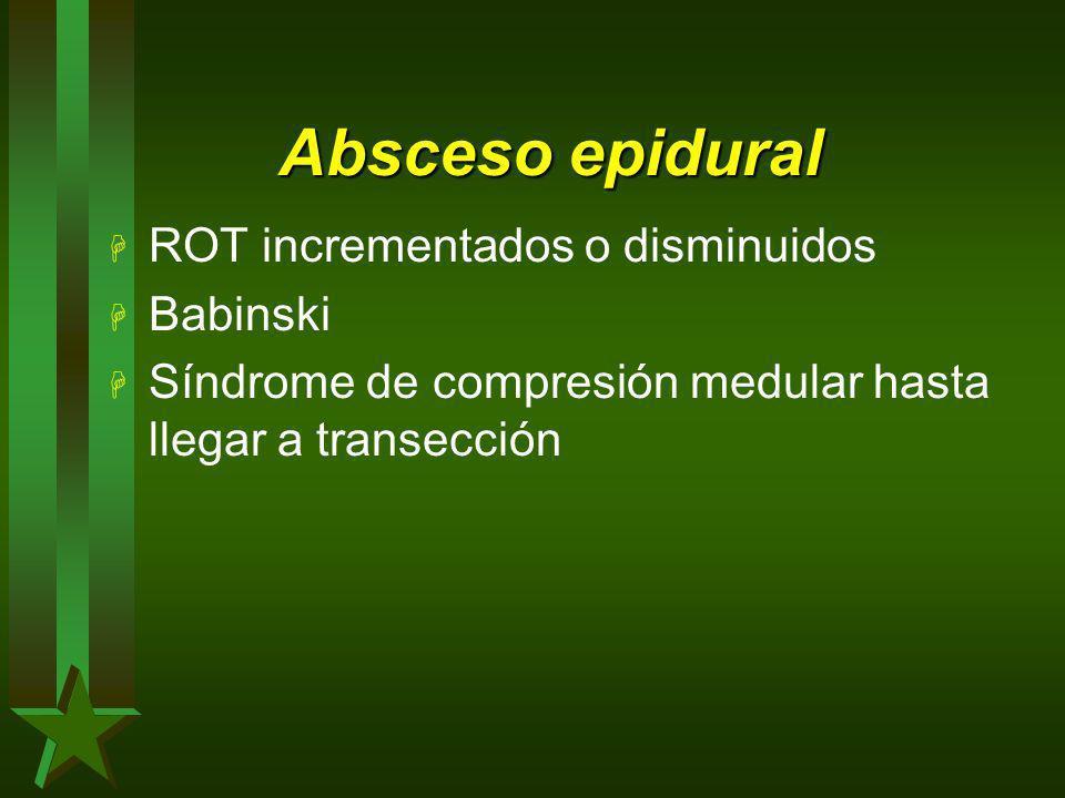 Absceso epidural H ROT incrementados o disminuidos H Babinski H Síndrome de compresión medular hasta llegar a transección