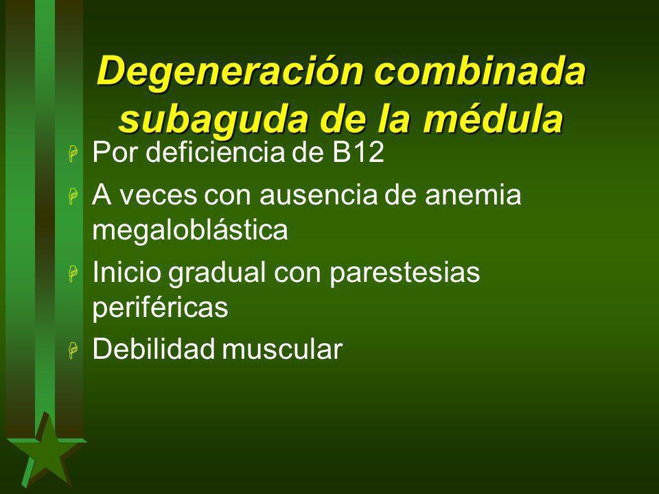 Degeneración combinada subaguda de la médula H Por deficiencia de B12 H A veces con ausencia de anemia megaloblástica H Inicio gradual con parestesias