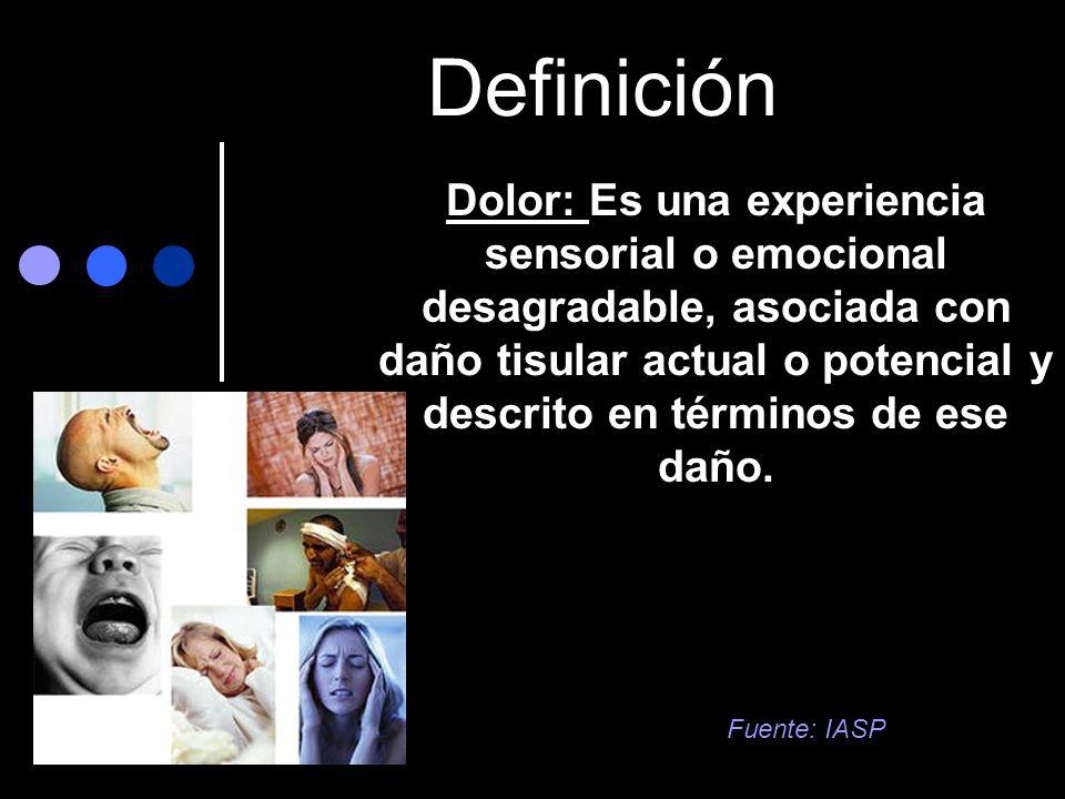 Definición Dolor: Es una experiencia sensorial o emocional desagradable, asociada con daño tisular actual o potencial y descrito en términos de ese da