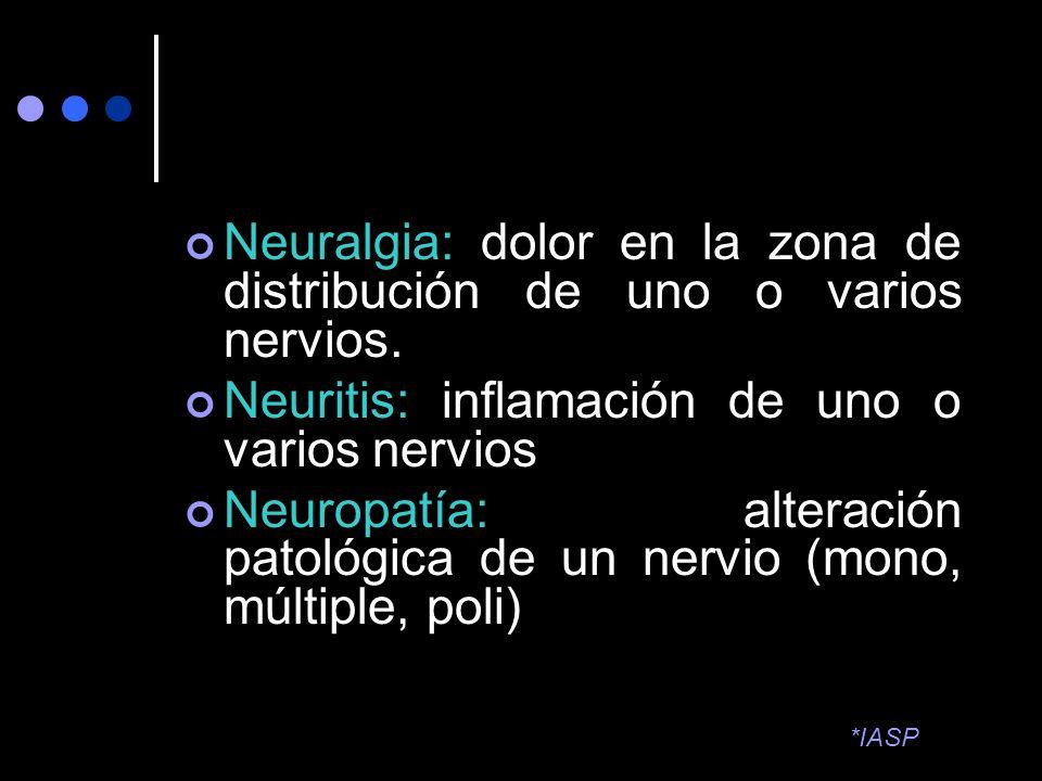 Neuralgia: dolor en la zona de distribución de uno o varios nervios. Neuritis: inflamación de uno o varios nervios Neuropatía: alteración patológica d