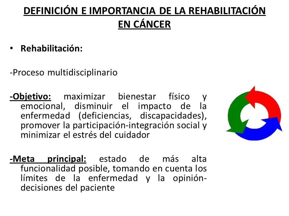 DEFINICIÓN E IMPORTANCIA DE LA REHABILITACIÓN EN CÁNCER Rehabilitación: -Proceso multidisciplinario -Objetivo: maximizar bienestar físico y emocional,
