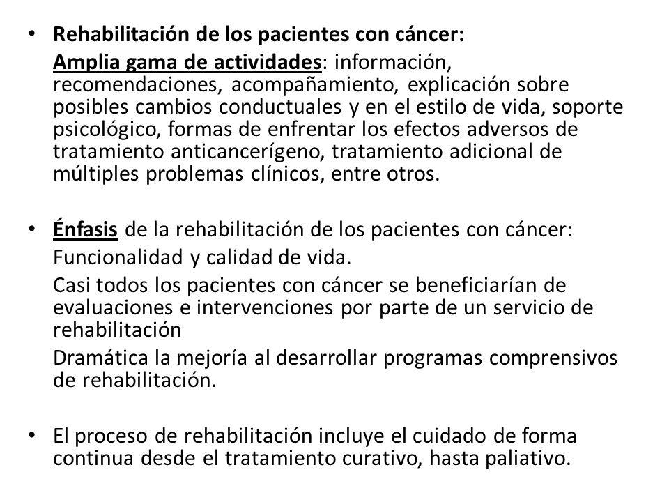Rehabilitación de los pacientes con cáncer: Amplia gama de actividades: información, recomendaciones, acompañamiento, explicación sobre posibles cambi