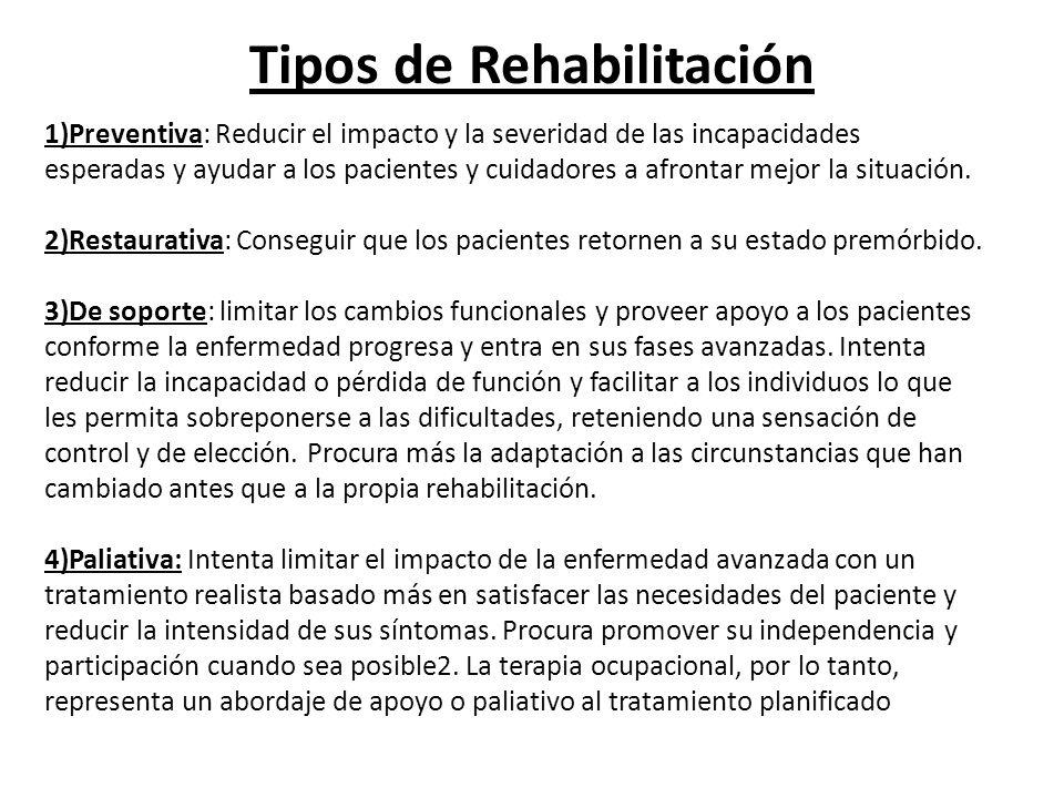 Tipos de Rehabilitación 1)Preventiva: Reducir el impacto y la severidad de las incapacidades esperadas y ayudar a los pacientes y cuidadores a afronta