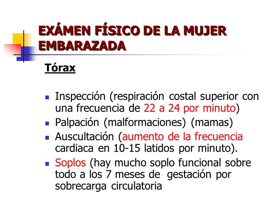 EXÁMEN FÍSICO DE LA MUJER EMBARAZADA Tórax Inspección (respiración costal superior con una frecuencia de 22 a 24 por minuto) Palpación (malformaciones