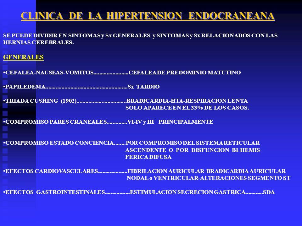 CLINICA DE LA HIPERTENSION ENDOCRANEANA SE PUEDE DIVIDIR EN SINTOMAS y Sx GENERALES y SINTOMAS y Sx RELACIONADOS CON LAS HERNIAS CEREBRALES. GENERALES