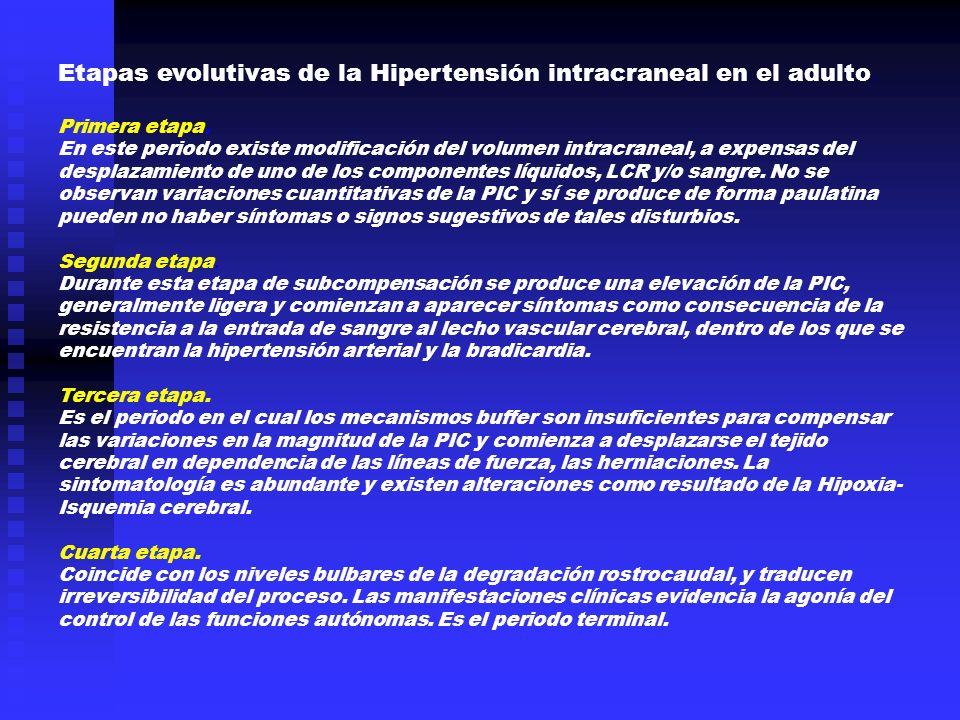 Etapas evolutivas de la Hipertensión intracraneal en el adulto. Primera etapa. En este periodo existe modificación del volumen intracraneal, a expensa