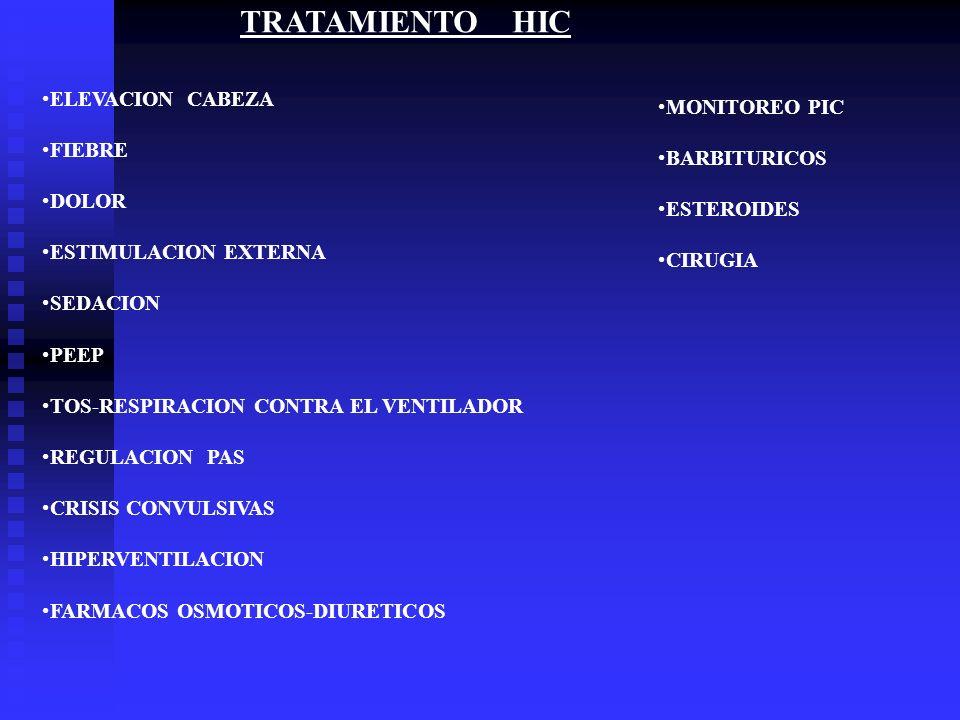TRATAMIENTO HIC ELEVACION CABEZA FIEBRE DOLOR ESTIMULACION EXTERNA SEDACION PEEP TOS-RESPIRACION CONTRA EL VENTILADOR REGULACION PAS CRISIS CONVULSIVA