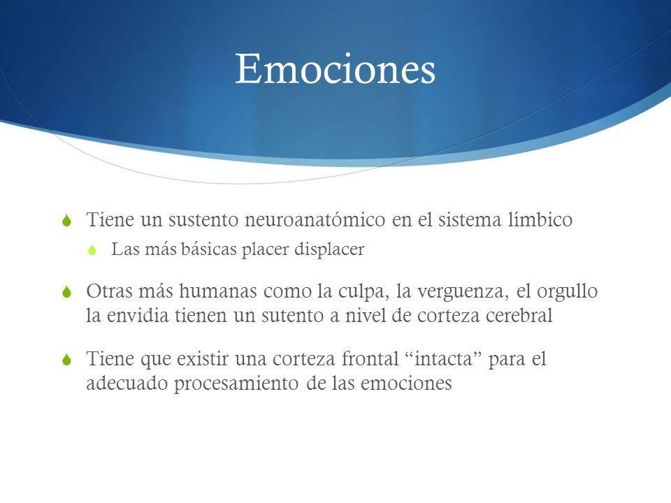 Emociones Tiene un sustento neuroanatómico en el sistema límbico Las más básicas placer displacer Otras más humanas como la culpa, la verguenza, el or