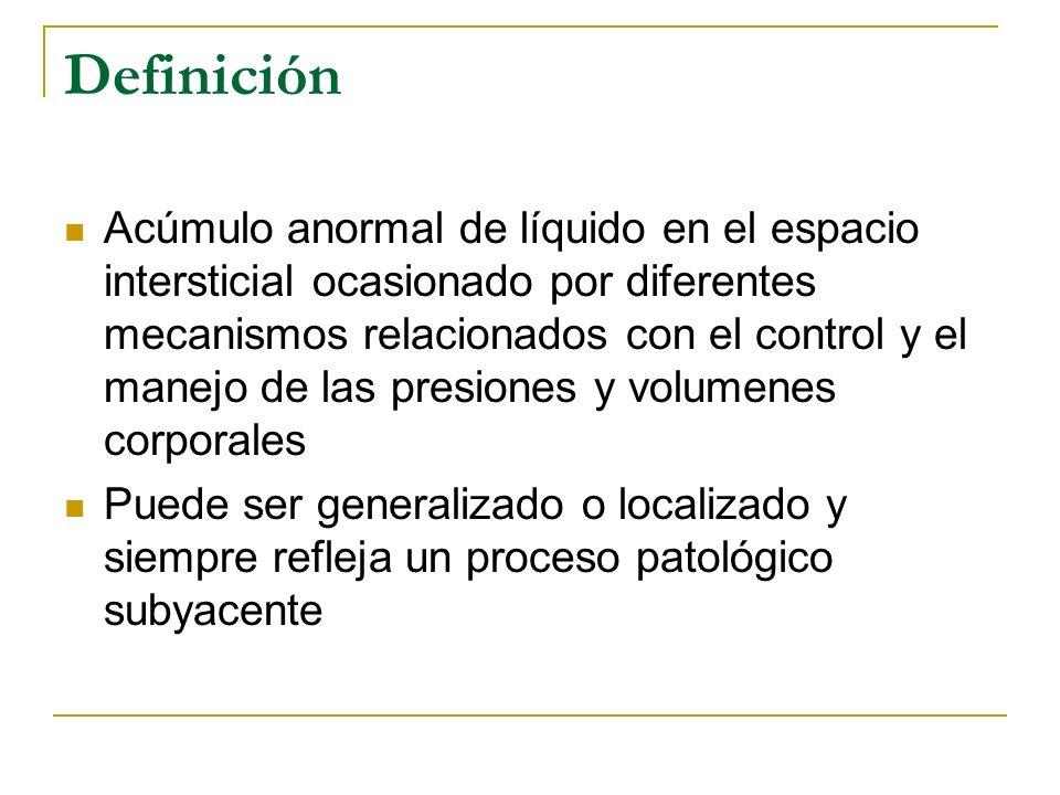 Generalidades Signo de desequilibrio de las fuerzas hidrostáticas y oncóticas a nivel capilar e intersticial Manifestación principal es la hinchazón visible con signo de fovea presente Localización puede variar dependiendo de la posición por efecto de la gravedad y por compresión
