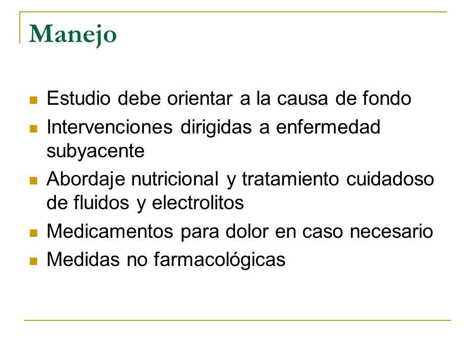Manejo Estudio debe orientar a la causa de fondo Intervenciones dirigidas a enfermedad subyacente Abordaje nutricional y tratamiento cuidadoso de flui