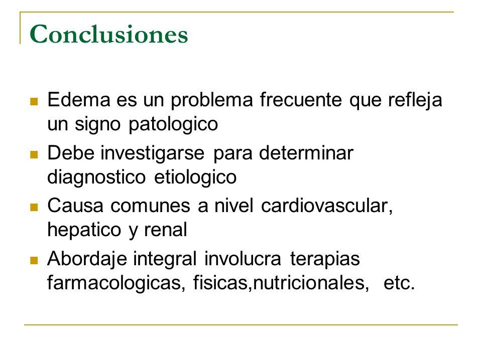 Conclusiones Edema es un problema frecuente que refleja un signo patologico Debe investigarse para determinar diagnostico etiologico Causa comunes a n