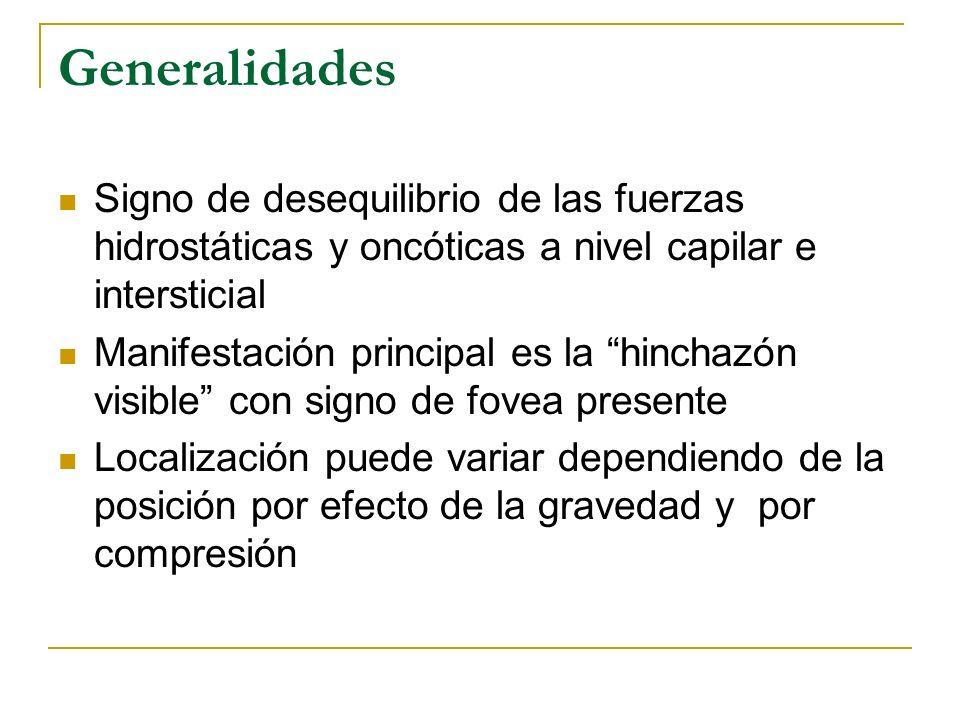 Generalidades Signo de desequilibrio de las fuerzas hidrostáticas y oncóticas a nivel capilar e intersticial Manifestación principal es la hinchazón v