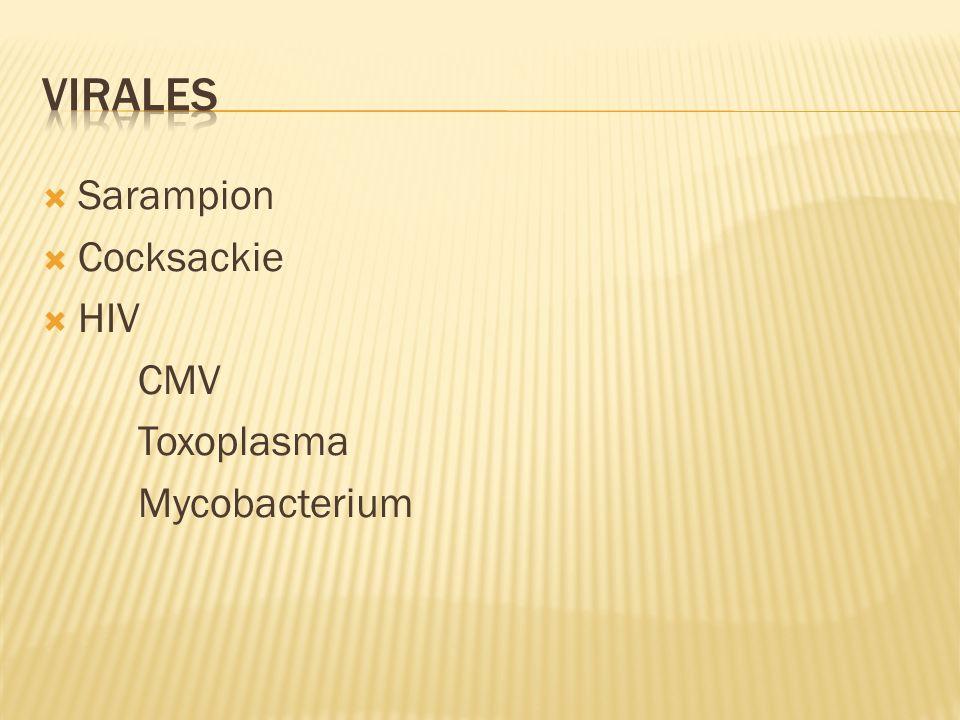 Sarampion Cocksackie HIV CMV Toxoplasma Mycobacterium