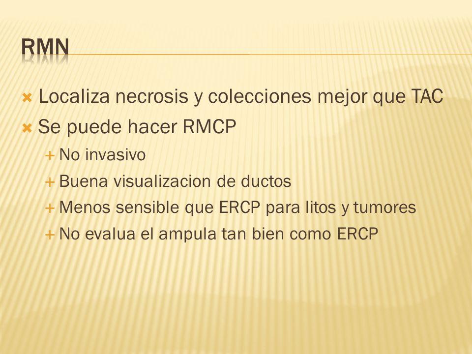 Localiza necrosis y colecciones mejor que TAC Se puede hacer RMCP No invasivo Buena visualizacion de ductos Menos sensible que ERCP para litos y tumor