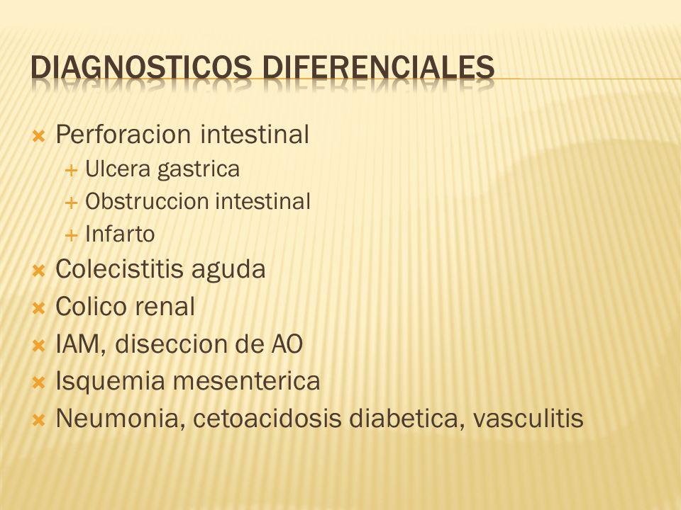 Perforacion intestinal Ulcera gastrica Obstruccion intestinal Infarto Colecistitis aguda Colico renal IAM, diseccion de AO Isquemia mesenterica Neumon