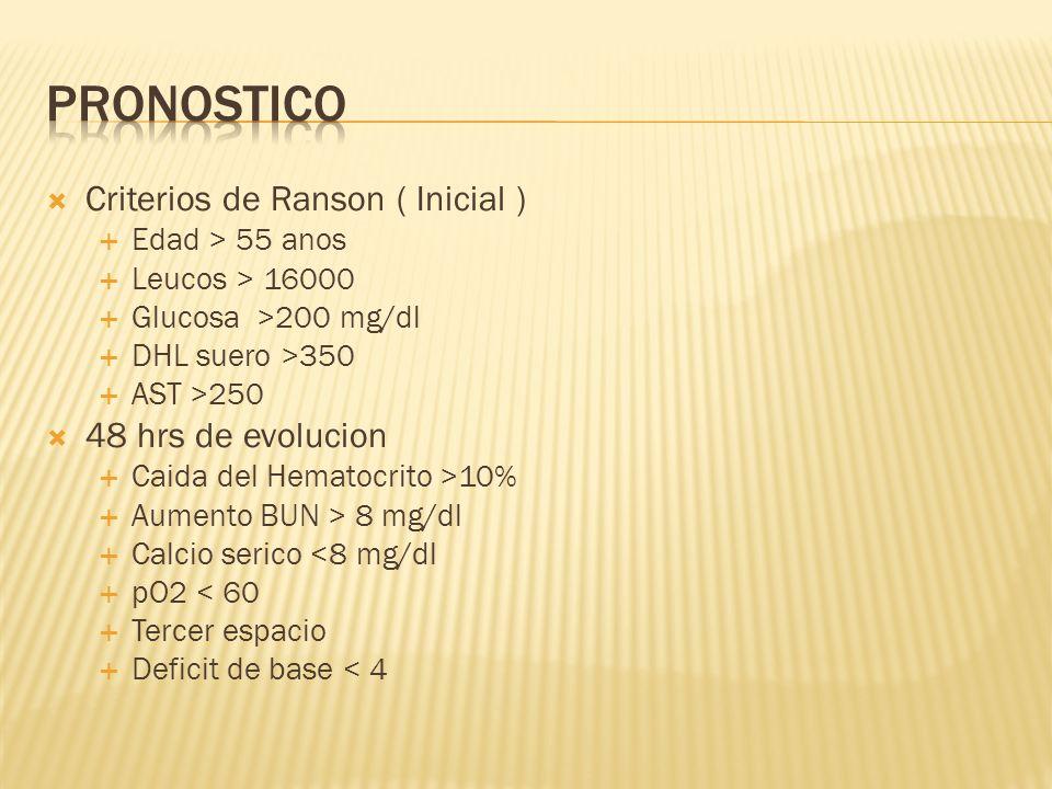 Criterios de Ranson ( Inicial ) Edad > 55 anos Leucos > 16000 Glucosa >200 mg/dl DHL suero >350 AST >250 48 hrs de evolucion Caida del Hematocrito >10