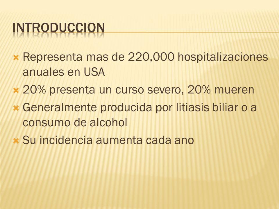 Representa mas de 220,000 hospitalizaciones anuales en USA 20% presenta un curso severo, 20% mueren Generalmente producida por litiasis biliar o a con