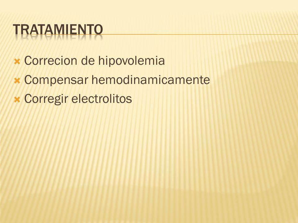 Correcion de hipovolemia Compensar hemodinamicamente Corregir electrolitos