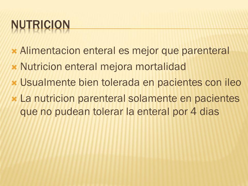Alimentacion enteral es mejor que parenteral Nutricion enteral mejora mortalidad Usualmente bien tolerada en pacientes con ileo La nutricion parentera