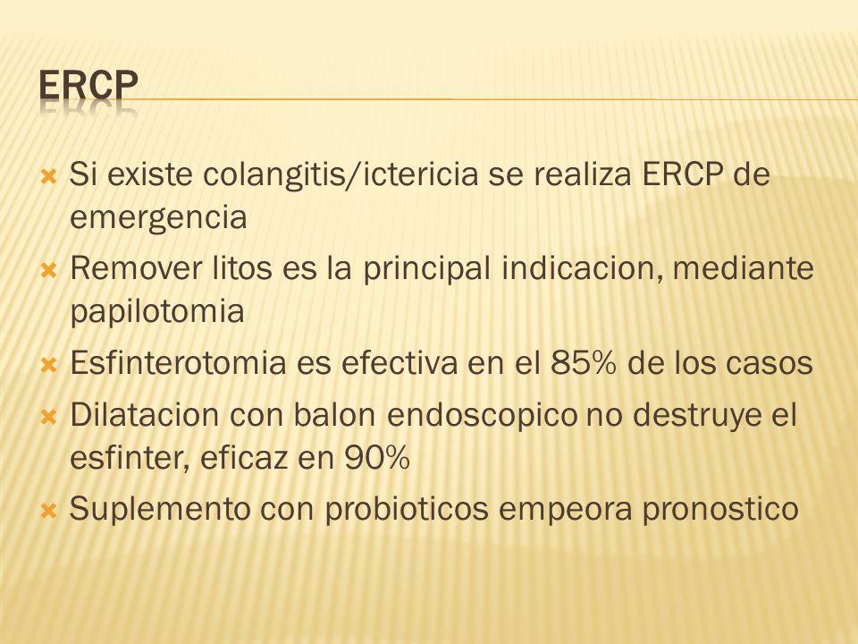 Si existe colangitis/ictericia se realiza ERCP de emergencia Remover litos es la principal indicacion, mediante papilotomia Esfinterotomia es efectiva