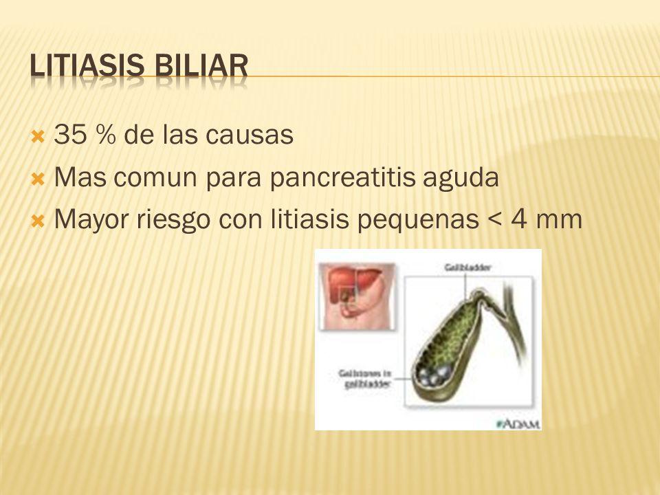 35 % de las causas Mas comun para pancreatitis aguda Mayor riesgo con litiasis pequenas < 4 mm