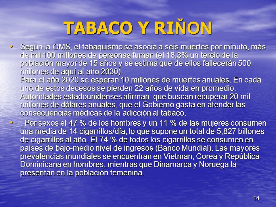 15 TABACO Y RI Ň ON El tabaquismo (junto con la obesidad) es la Epidemia del Siglo XX y comienzos de XXI, comparable al terrorismo.