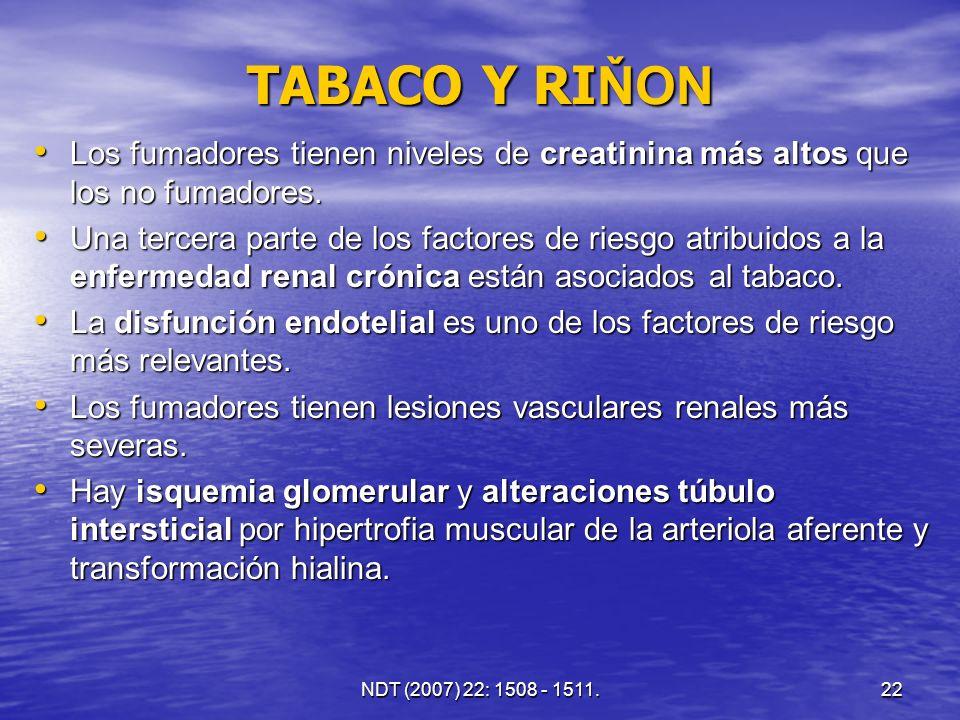 23 TABACO Y RI ŇON Estos cambios renales se asocian a vasoconstricción renal y disminución del flujo plasmático renal.