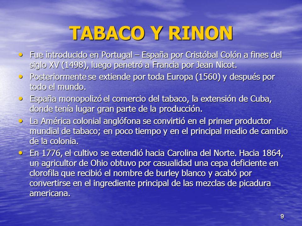 9 TABACO Y RINON Fue introducido en Portugal – España por Cristóbal Colón a fines del siglo XV (1498), luego penetró a Francia por Jean Nicot. Fue int