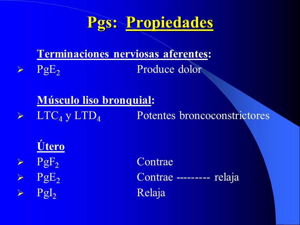 Pgs: Propiedades Terminaciones nerviosas aferentes: PgE 2 Produce dolor Músculo liso bronquial: LTC 4 y LTD 4 Potentes broncoconstrictores Útero PgF 2