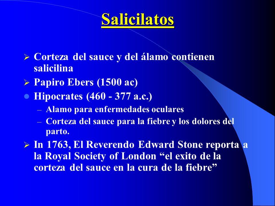 Salicilatos Corteza del sauce y del álamo contienen salicilina Papiro Ebers (1500 ac) Hipocrates (460 - 377 a.c.) – Alamo para enfermedades oculares –