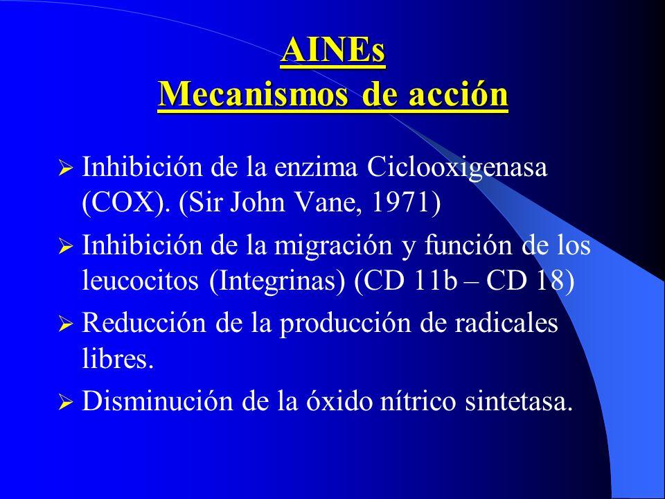 AINEs Mecanismos de acción Inhibición de la enzima Ciclooxigenasa (COX). (Sir John Vane, 1971) Inhibición de la migración y función de los leucocitos