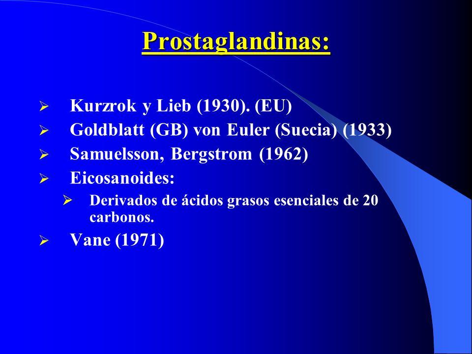 Prostaglandinas: Kurzrok y Lieb (1930). (EU) Goldblatt (GB) von Euler (Suecia) (1933) Samuelsson, Bergstrom (1962) Eicosanoides: Derivados de ácidos g