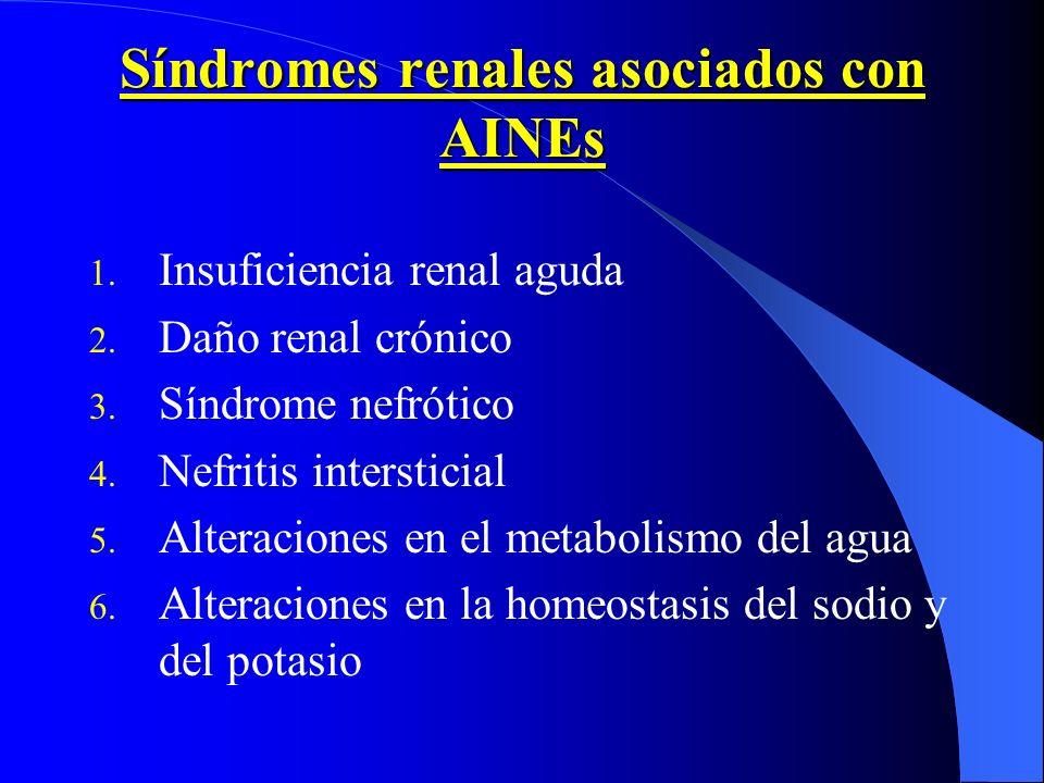 Síndromes renales asociados con AINEs 1. Insuficiencia renal aguda 2. Daño renal crónico 3. Síndrome nefrótico 4. Nefritis intersticial 5. Alteracione