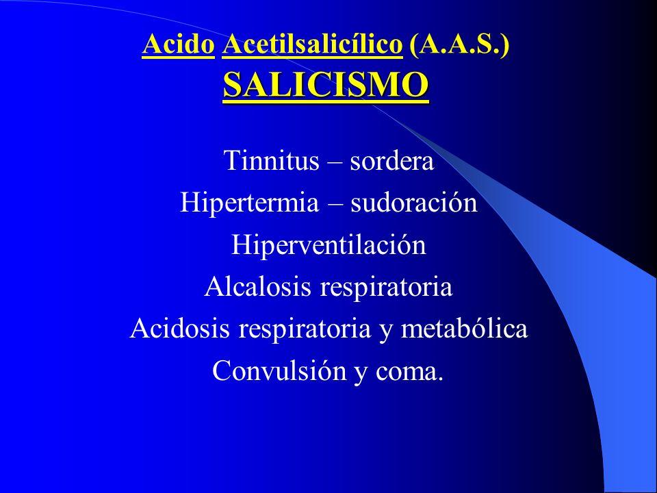 SALICISMO Acido Acetilsalicílico (A.A.S.) SALICISMO Tinnitus – sordera Hipertermia – sudoración Hiperventilación Alcalosis respiratoria Acidosis respi
