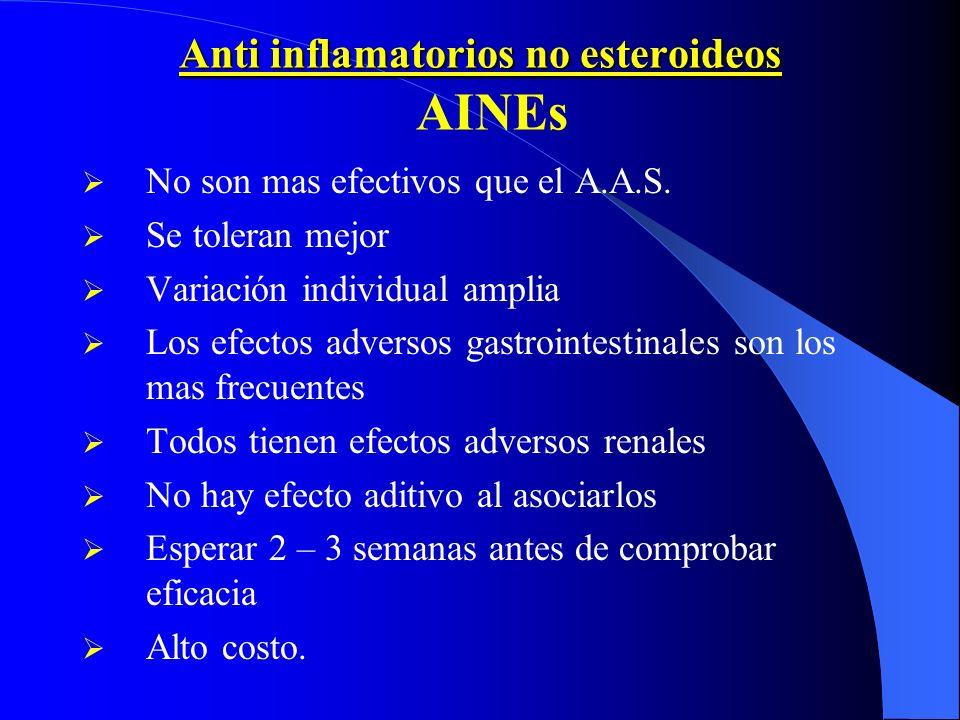 Anti inflamatorios no esteroideos Anti inflamatorios no esteroideos AINEs No son mas efectivos que el A.A.S. Se toleran mejor Variación individual amp