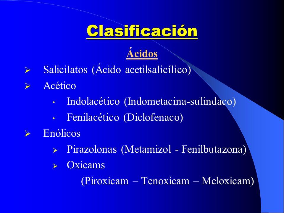 Clasificación Ácidos Salicilatos (Ácido acetilsalicílico) Acético Indolacético (Indometacina-sulindaco) Fenilacético (Diclofenaco) Enólicos Pirazolona