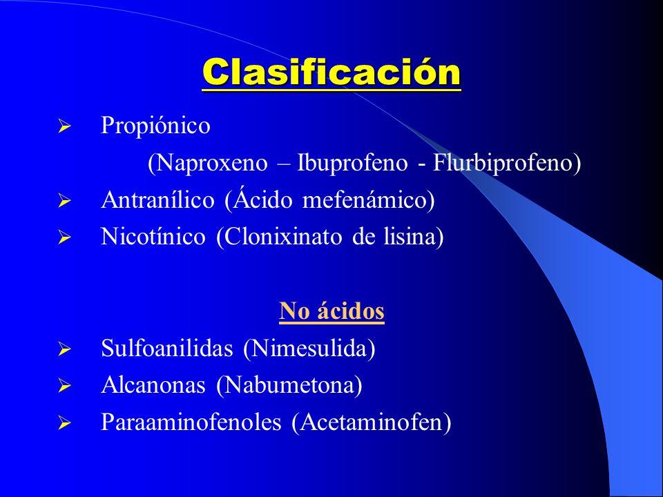 Clasificación Propiónico (Naproxeno – Ibuprofeno - Flurbiprofeno) Antranílico (Ácido mefenámico) Nicotínico (Clonixinato de lisina) No ácidos Sulfoani