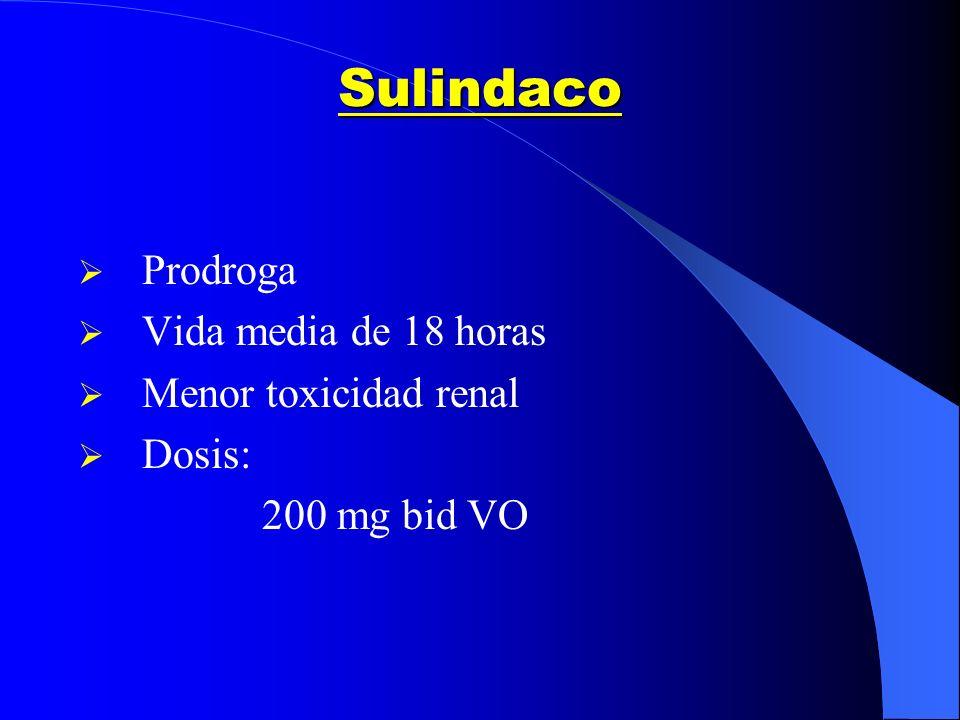 Sulindaco Prodroga Vida media de 18 horas Menor toxicidad renal Dosis: 200 mg bid VO