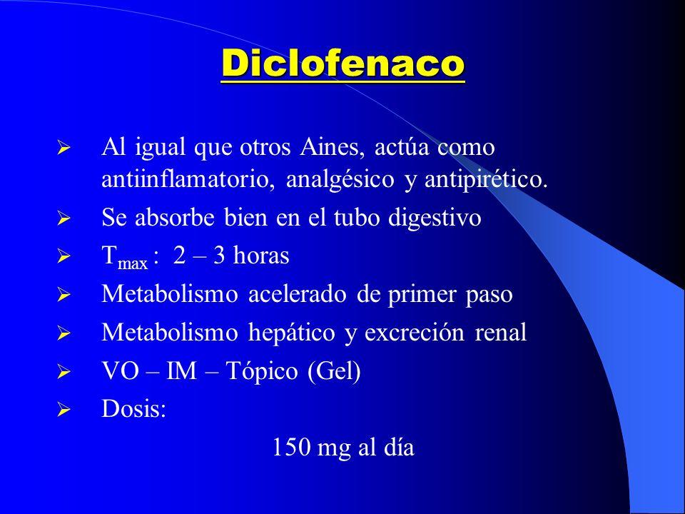 Diclofenaco Al igual que otros Aines, actúa como antiinflamatorio, analgésico y antipirético. Se absorbe bien en el tubo digestivo T max : 2 – 3 horas