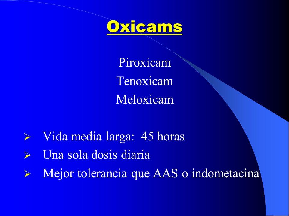 Oxicams Piroxicam Tenoxicam Meloxicam Vida media larga: 45 horas Una sola dosis diaria Mejor tolerancia que AAS o indometacina